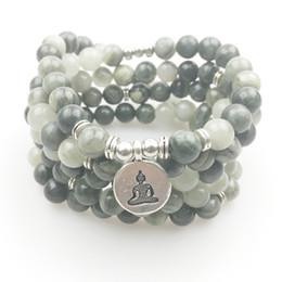 Wholesale Hair Stones - SN1168 Fashion Women`s 108 Mala Bracelet Green Hair Agate Yoga Necklace Natural Stone Meditation Spiritual Jewelry For Women