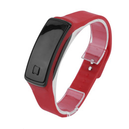 Wholesale Led Wells - Wholesale- Lightweight LED Touch Design Sport Running Digital Bracelet Soft Silicone Smart Digital Wristaband White  Black  Red Well Sell