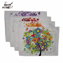 Wholesale Place Europe - Wholesale- Cotton Linen Colorful Life Tree Drawing Table Dishware Place Mats For Dinner Accessories Cup Wine mat