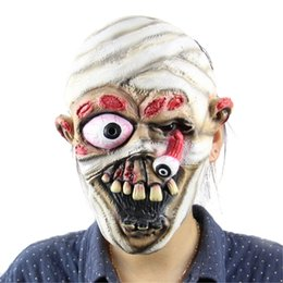 Wholesale Mummy Cosplay - Wholesale-2016 Halloween Horror Masks Adult Costume Mummy Latex Party Scary Mask Christmas Cosplay Prop Fancy Dress Decor NEW
