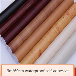 Wholesale Vintage Living Room Furniture - New hot sale 5m long 90 cm wide imitation wood grain self-adhesive wallpaper top quality waterproof cabinet wardrobe furniture renovation