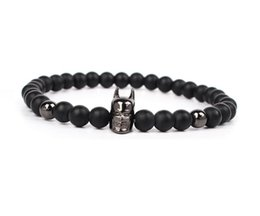 Wholesale String 6mm - New Fashion 6mm natural Agates Beaded Bracelets For Women batman string yoga beands Charm Man Bracelet Pulseras Hombre 4SIZE aa158