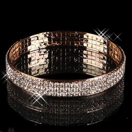 Wholesale Romantic Evenings - Gold Plated 3 Rows Rhinestone Stretch Bangle Bracelets For Evening Party Prom Dresses Bridal Jewelry Luxury Wedding Accessories Bracelet