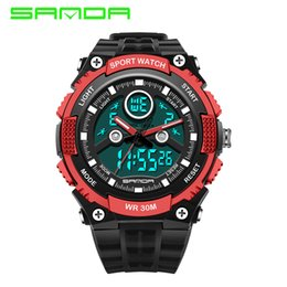 Wholesale Cheap Water Resistant Watches - 2016 New Hot SANDA Men's Fashion Electronics Sports Watches Outdoor LED Analog-Digital Wristwatch Cheap Sports Waterproof Men Watch-quartz