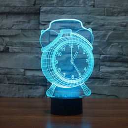 Wholesale color changing baby night light - 3D Optical Illusion Clock 7 Color Changing LED Touch Desk Lamp Night Light,Alarm Clock Baby Children Kids Bedside Illumination Table Lamp