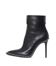Wholesale Buckled Leather Ankle Boots - Autumn Fashion High Heels Ankle Boots Woman 2017 Brand Designer Winter Buckle Rivets boots fashion ladies pointed boots 35-41 10CM heels