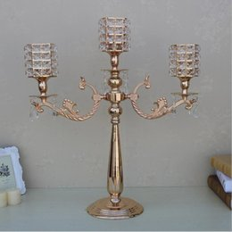 Wholesale Cup Holders For Tables - Gold 3 arms candelabra 67 cm tall metal candle holder for wedding table   events  party centerpiece  home decor 10 pcs  lot
