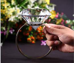 Wholesale Wedding Proposal Rings - 80mm Super Big K9 Crystal Clear Diamond Ring Romantic Marriage Proposal Wedding Decoration Valentine's Day Gift ZA3306