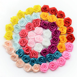 Wholesale Ribbon Flower Rose Appliques - Wholesale- DIY 500pcs lot Handmade Satin Rose Ribbon Rosettes Fabric Flower Bow Appliques Wedding Decor Craft Sewing Accessories 1-35