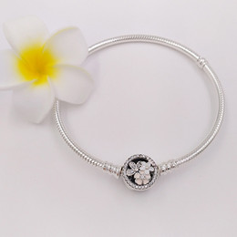 Wholesale European Charm Bead Chain - Authentic 925 Sterling Silver Poetic Blooms Mixed Enamels & Clear Cz Bracelet Fits European Pandora Style Jewelry Charms Beads 590744CZ
