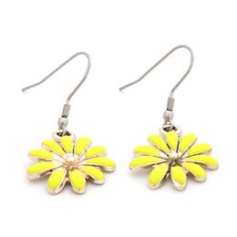 Wholesale Blue Enamel Flower Earrings - New Gold Plated Enamel Daisy Flower Pendant Dangle Earrings With Stainless Steel Ear Hook Drop Shipping