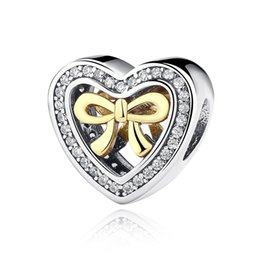 Wholesale 14k Solid Gold Beads - 925 Sterling Silver Charm Beads Heart Shape Bow Hollow Design with 14K Solid Gold fit Bangle Bracelets DIY Jewelry For Woman S300