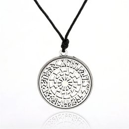 Wholesale Hollow Rope Chain - Viking Runes Circle amulet pendant with silver&gold color hollow Slavic Black Sun Schwarze Sonne Valkyrie Pendant Necklace