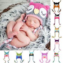 Wholesale Newborn Baby Infant Crochet Owl - New Cute Baby Hat Winter Crochet Custom Handmade Knitted Infant Toddler Baby Hat Owl Newborn Photography Prop cap