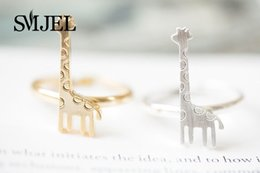 Wholesale Deer Giraffe - SMJEL 10 PCS lot-R203 Wholesale Europe and the United States Fashion Jewelry Deer Ring Giraffe Ring Accessories Free Shipping.