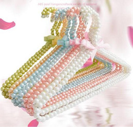 Wholesale Wholesale Metal Clothes Racks - Colorful Pearl Clothes Rack Teddy Dog Clothes Hangers 20cm 40 cm Bowknot Pearl Hangers for Baby Infant  Adult Fashion Pearl Hanger