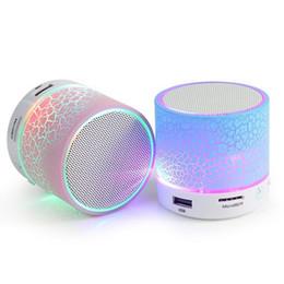 Wholesale Sound Card Usb Input - A9 Portable Mini Hands-free Wireless Bluetooth Speaker Support TF Card Crack Pattern Flash LED Night Light TF card AUX Input Loudspeaker