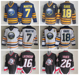 Wholesale Vintage Pat - Cheap Throwback 7 Rick Martin Jersey Men Buffalo Sabres Vintage CCM Hockey Jerseys Stitched 16 Pat LaFontaine 18 Danny Gare 26 Thoma Vanek