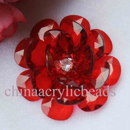Wholesale Grey Flowers Diy - 54MM Handmade Acrylic Crystal Faceted Beads Flowers Acrylic Beaded Flower Pendants For DIY Jewelry Making