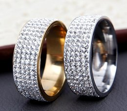 Wholesale Wholesale Men Diamond Ring - B156 2017 New Titanium steel five rows of diamond ring soft pottery full drilling mud Pakistan diamond stainless steel ring for men
