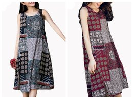 Wholesale Midi Sundresses - 2017 M-5XL Vintage Womens Crew Neck Sleeveless Floral Print BOHO Midi Dress Plus Size Split Summer Beach Sundress