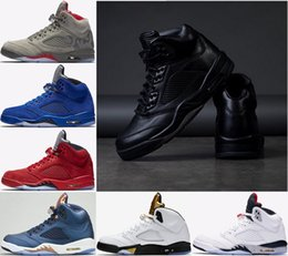 Wholesale Premium White - (with box) Air Retro 5 Men Basketball Shoes Premium Triple Black White Cement Red suede Blue Metallic Gold 5s sport Sneakers US 8-13