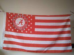 Wholesale Alabama Flags - Alabama Crimson Tide Flag 90 x 150 cm Polyester NCAA Elephant Roll Tide Stars And Stripes Outdoor Banner