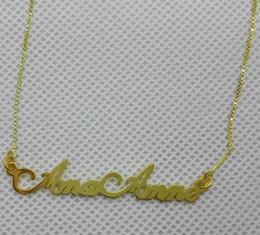 plaques de nom d'or en gros Promotion Vente en gros-925 bijoux en argent sur mesure argent nom collier Collier plaqué nom or avec chaîne chaîne