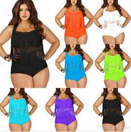 Wholesale Womens Tassel Fringe Bikini - 2016swimwearPLUS SIZE Big and Beautiful Womens Retro Fringe Tassel Top High Waisted Bikini Push Up Bandeau Rockabilly bikini women swimwear
