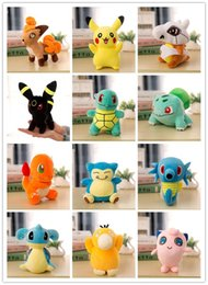 Wholesale Design Puppets - 2017 New Poke Plush Toys 22cm Pocket Monster Stuffed Animal Doll Squirtle Pikachu Charmander Baby Toy gifts 13 Designs