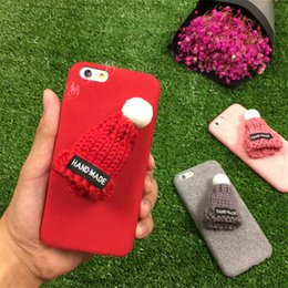 Wholesale Iphone Winter Cover - Diy 3D Hat Wool Cases Back cover for iphone 6 6S 7 Plus Lovely Hand-Made Autumn winter Soft TPU Skin