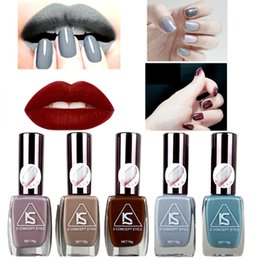 Wholesale Long Red Nails - Wholesale-12Colors IS Brand Fashion Gray Series Long Lasting Matte Vernis Gel Nail Polish DIY Manicure Nails Art Tools Free Shipping