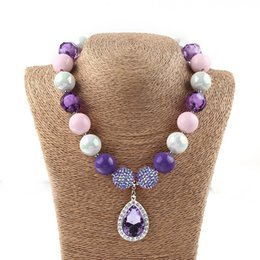 Wholesale Bubblegum Birthday Party - Toddlers Fashion Jewelry Princess Sophia Necklace Violet Chunky Beads Bubblegum Necklaces for Birthday Halloween Party Statement Necklace