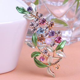 Wholesale Decorative Flower Brooch - Wholesale- Flower Brooches For Women Esmalte Enamel Broches Gold Ouro Hijab Pins Austrian Crystal Decorative Garment Dress Accessories Pin