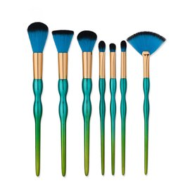 Wholesale Plastic Gourds - New arrival high quality green handle 7pcs makeup brushes gourd shape makeup tools free shipping dhgate vip seller