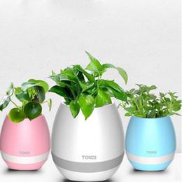 Wholesale Decorative Music Light - Hot Mini Bluetooth Flowerpot Speakers Plastic Green Plant LED Night Support TF Card Decorative Macetas Pot Playing Smart Music HP01