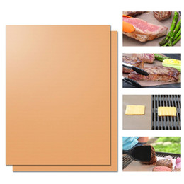 Wholesale Portable Charcoal Bbq - Copper Grill Mat Barbecue Grilling Liner BBQ Portable Non-stick Reusable Oven Hotplate Mats Outdoor Picnic Cooking Barbecue Tool OOA1934