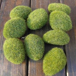 Wholesale Simulation Stone - Artificial Flowerless Plant Moss Stones For Home Garden Party Wedding Decorations Simulation Moss Stone 3 sizes 2017 New Arrival