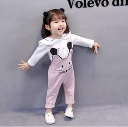 Wholesale girls white suit - New fashion female baby strap pants suit autumn 0-1-2-3 year old girl long sleeve baby children's clothing two-piece