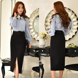 Wholesale Dabuwawa Skirt - DABUWAWA Women Fashion OL Formal Work Dress Medium Split Pleated High Waist Black Skirts