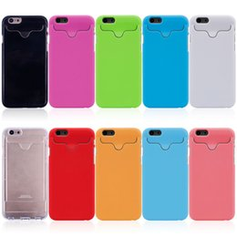 Wholesale Holder Galaxy Note2 - 300pcs Card Holder Hard PC Case Cover for iPhone 4 4s 5 5s 6 6s Plus Samsung Galaxy s3 i9300 s4 i9500 s5 s6 Note2 Note 2 3 4 5