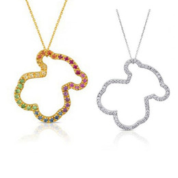 Wholesale Titanium Necklaces Women - New Unique design Women Jewelry Titanium Steel excellent quality colors crystal panda Pendant Gold Silver plated osos collar necklace