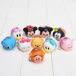 Wholesale Cell Phone Charms Doll - Free Shipping 10 pcs set Tsum Tsum Soft Cell Phone Strap Charms Sound Doll pendant keychain For Best Gift