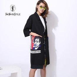 Wholesale Big Buttoned Trench Coat - [WHOLESALE] 2016 new print big pocket long trench women coat black windbreaker thin clothing fashion