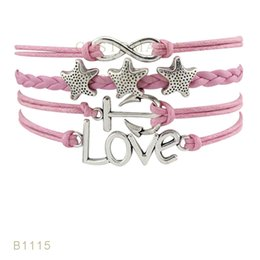 Wholesale Silver Star Charm Pieces - (10 Pieces Lot) Infinty Love Stars Anchor Compass Hope Charm Bracelet Suede Leather Pink White Blue Bracelets Any Themes Drop Shipping