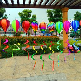 Wholesale Hot Rainbow Spiral Windmill Air Balloon Wind Spinner Rainbow Windsock Garden Yard Outdoor Decor windTail Large Rainbow Beach Kites