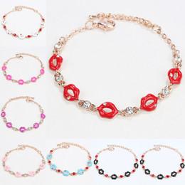 Wholesale Rhinestone Shapes - Lips Shape crystal Bracelets For Women Classic High Quality birthstone Crystal Bracelet Fashion Brand Rhinestone jewelry 162296