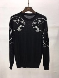 Wholesale Leopard Long Sleeve Sweater Fashion - 2017 New Spring Autumn Brand clothing Men Sweaters Sketch the leopard animal Pullovers Knitting fashion Casual Man Knitwear