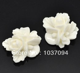 Wholesale Resin Flower Embellishments - Wholesale- 50 Ivory Resin Flower Embellishments Flatback Cabochon Scrapbook 16x16mm