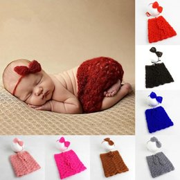 Wholesale Handmade Wool Dresses - 2017 Newborn Photography Costume Handmade Knit Wool Baby Dress Headbands Clothing Sets Newest Cute Photo Dress Boutique Clothes Outfits